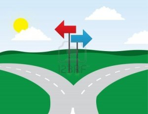 14473619-road-split-left-and-right-directions